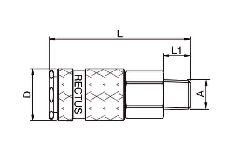 Szybkozłącze pneumatyczne Parker Rectus 17KAAK