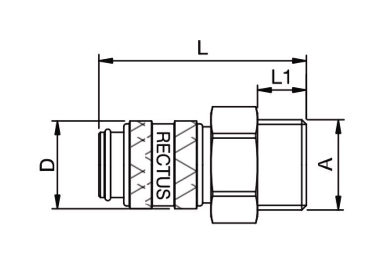 Szybkozłączka pneumatyczna Parker Rectus 21KAAW- wartości w tabeli 'Jak zamawiać'