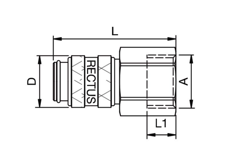 Szybkozłączka pneumatyczna Parker Rectus 21KAIW- wartości w tabeli 'Jak zamawiać'