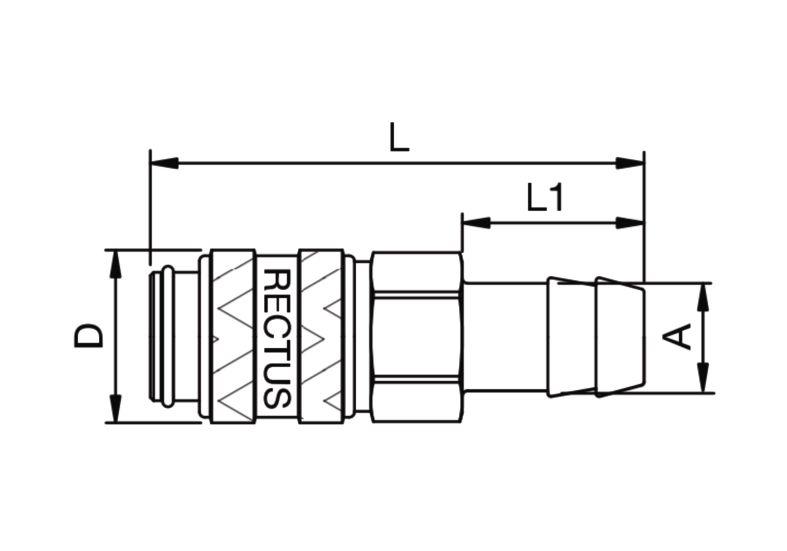 Szybkozłączka pneumatyczna Parker Rectus 21KATF- wartości w tabeli 'Jak zamawiać'