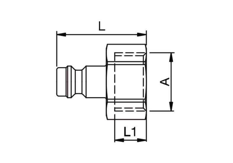 Szybkozłączka pneumatyczna Parker Rectus 21SFIW- wartości w tabeli 'Jak zamawiać'