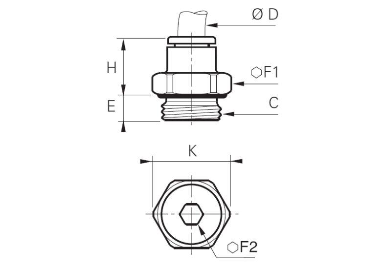Wymiary złączki prostej z gwintem Legris 3101