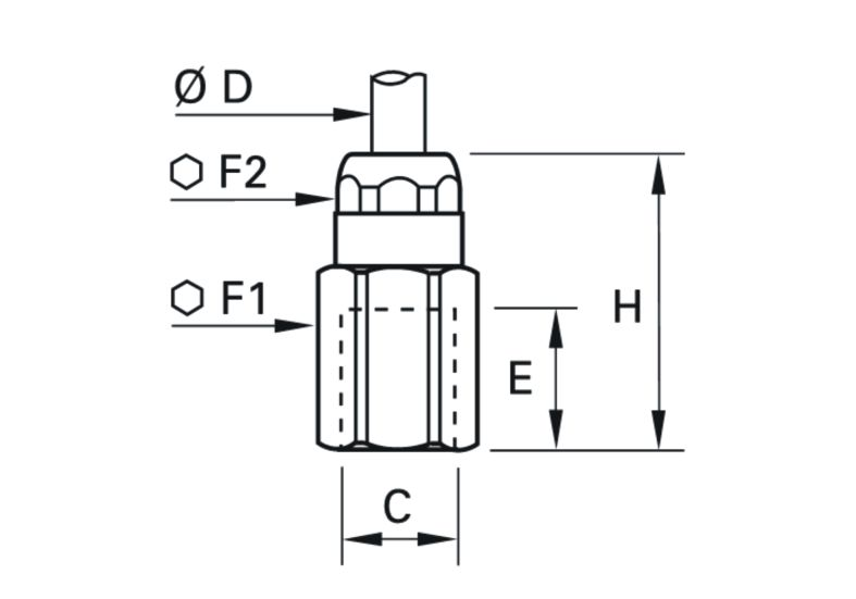Wymiary złączki mosiężnej prostej Legris 6114