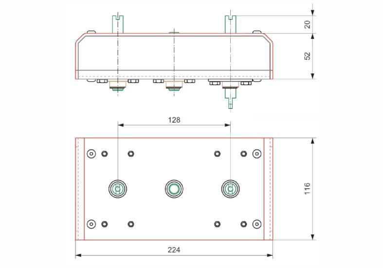 Doppler wymiary interfejsu do montażu dodatkowej skrzynki wyłączników krańcowych