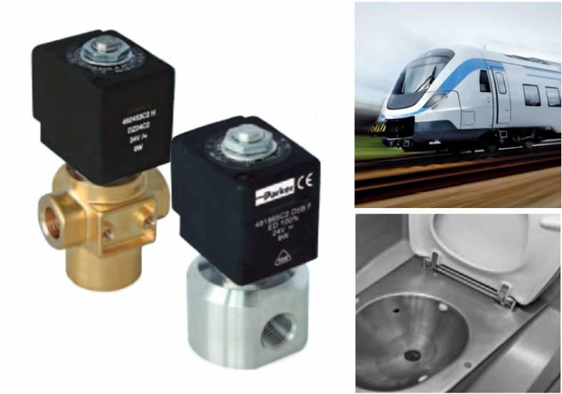 Elektrozawory do sterowania wodą w toaletach wagonów kolejowych Parker Lucifer