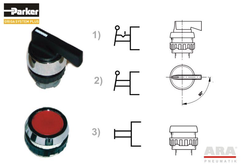 Dźwignia obrotowa z zapadką (1)  |  Dźwignia obr. ze sprężyną powrotną (2)   |   Przycisk (3)