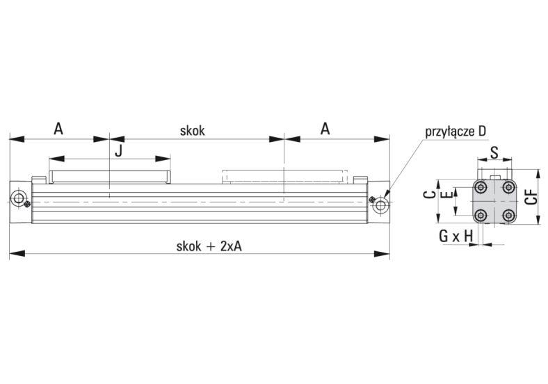 Napęd liniowy pneumatyczny Hoerbiger | Parker Origa OSP-P - wymiary