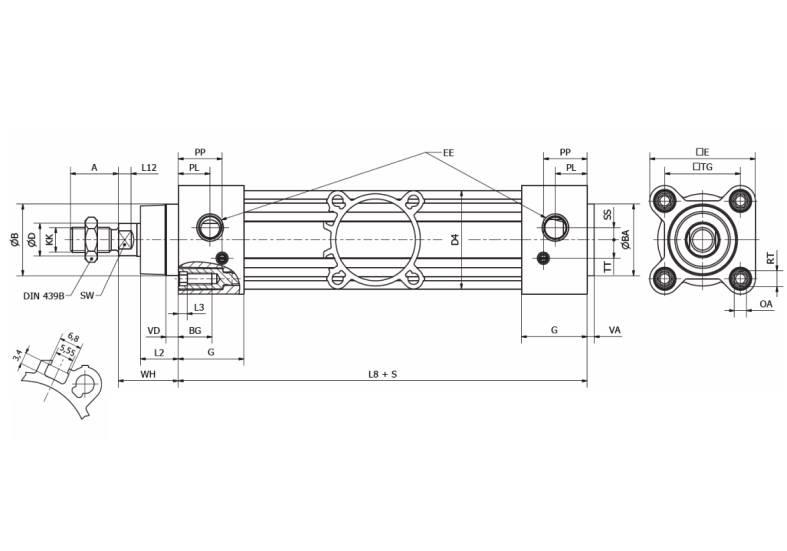 Wymiary siłownika pneumatycznego ISO15552 Parker P1F
