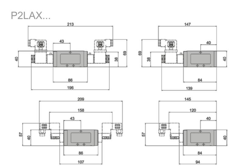 Wymiary zaworów Viking Xtreme sterowanych elektrycznie 5/2 i 5/3 serii P2LAX...