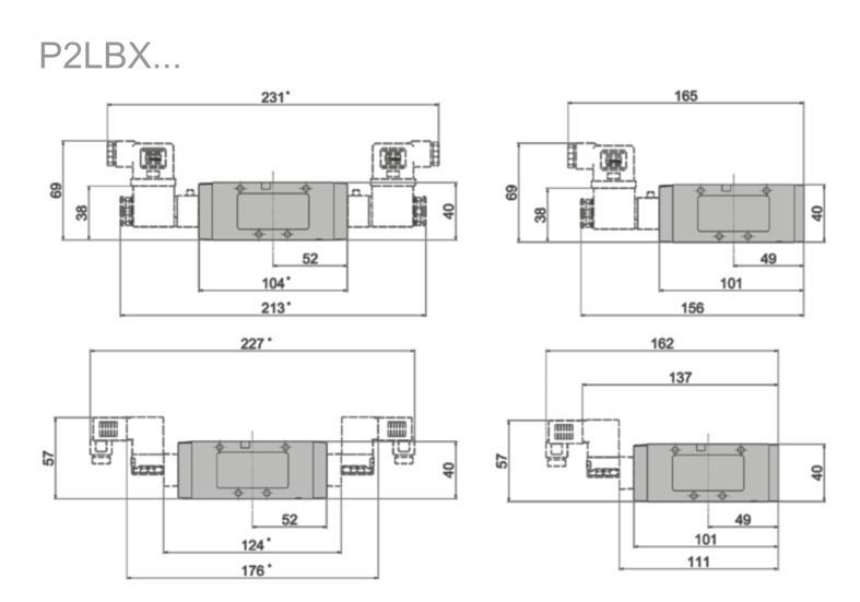 Wymiary zaworów Viking Xtreme sterowanych elektrycznie 5/2 i 5/3 serii P2LBX...