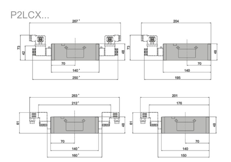 Wymiary zaworów Viking Xtreme sterowanych elektrycznie 5/2 i 5/3 serii P2LCX...