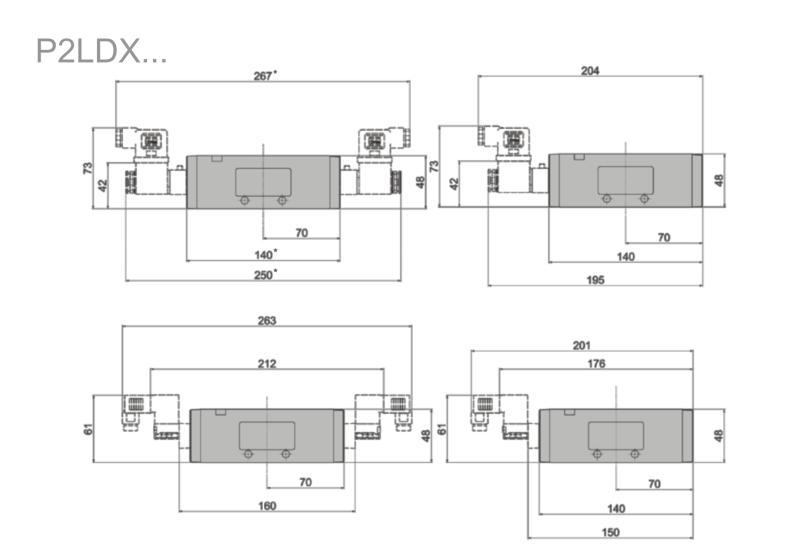 Wymiary zaworów Viking Xtreme sterowanych elektrycznie 5/2 i 5/3 serii P2LDX...