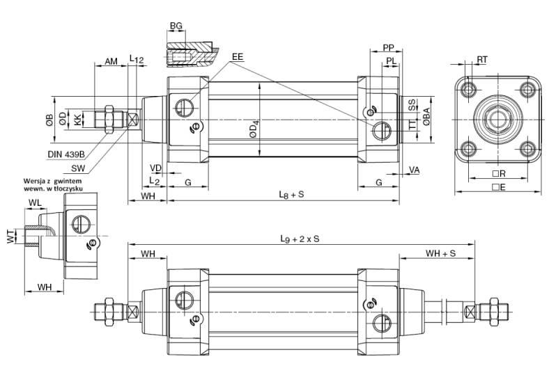 Siłownik pneumatyczny tłoczyskowy znormalizowany Parker P1D - wymiary